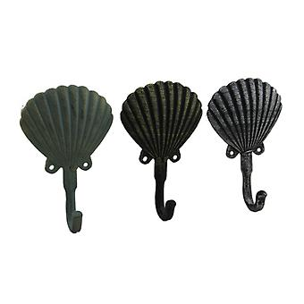 Distressed Scallop Shell 3 Piece Coastal Cast Iron Wall Hook Set