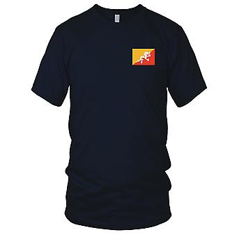 Bhutan Country National Flag - Embroidered Logo - 100% Cotton T-Shirt Ladies T Shirt
