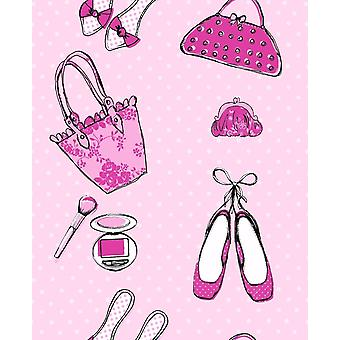 Pink Cute Shoes Handbags Gladrags Wallpaper Girls Bedroom Nursery