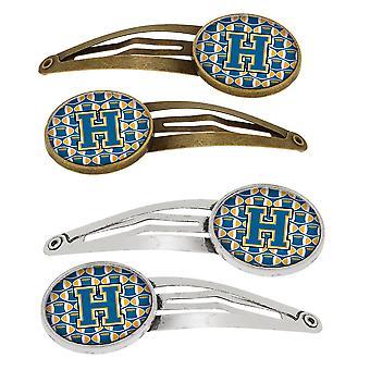 Lettera H calcio blu e oro Set di 4 clip di capelli Barrettes