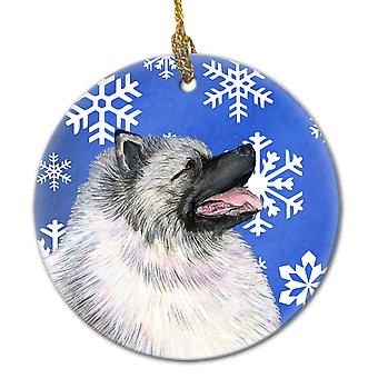 Keeshond Winter Snowflakes Holiday Christmas Ceramic Ornament SS4626