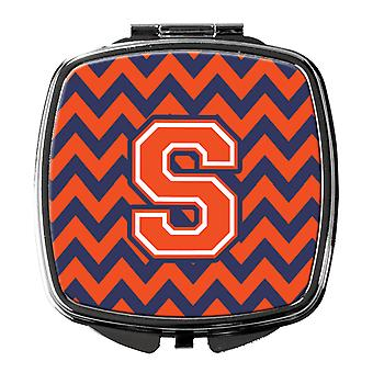 Carolines Treasures  CJ1042-SSCM Letter S Chevron Orange and Blue Compact Mirror
