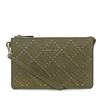 Michael Kors Daniela Grommeted Leather Wristlet - OLIVE - 32F7GFDU8U-333