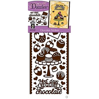 Dazzles Stickers-Chocolate, Brown/Clear Foil DAZ-2607