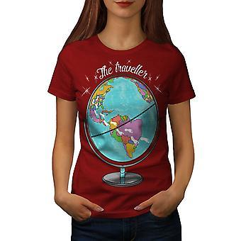 Глобус путешественник женщин RedT рубашки   Wellcoda