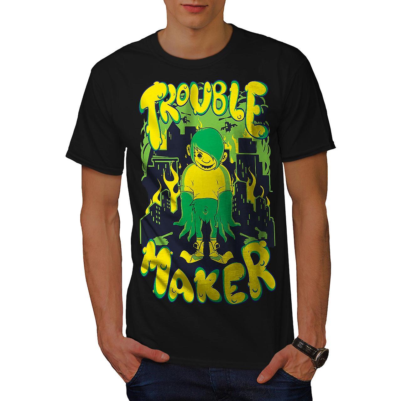 Trouble Maker Art Fashion Men Black T-shirt | Wellcoda