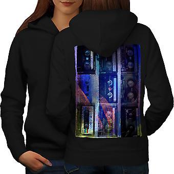 Cassette de imprimir arte música mujeres BlackHoodie espalda | Wellcoda