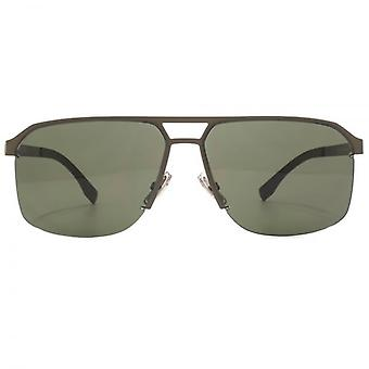 Hugo Boss Retro Half Rim Sunglasses In Semi Matte Brown