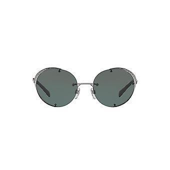 Valentino Eye Mesh Round Sunglasses In Gunmetal Green
