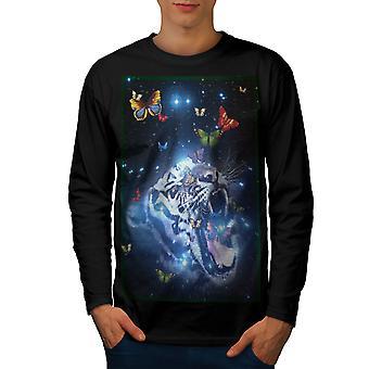 Tiger ansigt plads animalske mænd BlackLong ærmet T-shirt | Wellcoda