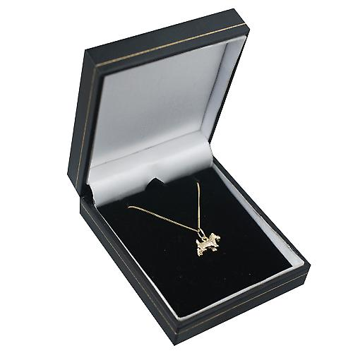 9ct Gold 8x13mm Scottie Dog Pendant with a curb Chain 16 inches Only Suitable for Children