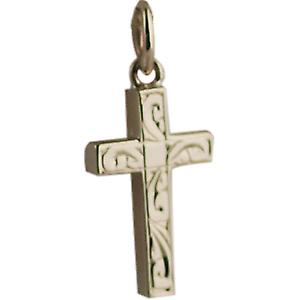 9ct Gold 17x10mm hand engraved solid block Cross