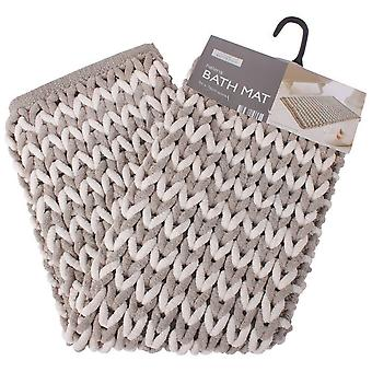 Luxe Bathroom Helena Bath Mat, Latte and Natural