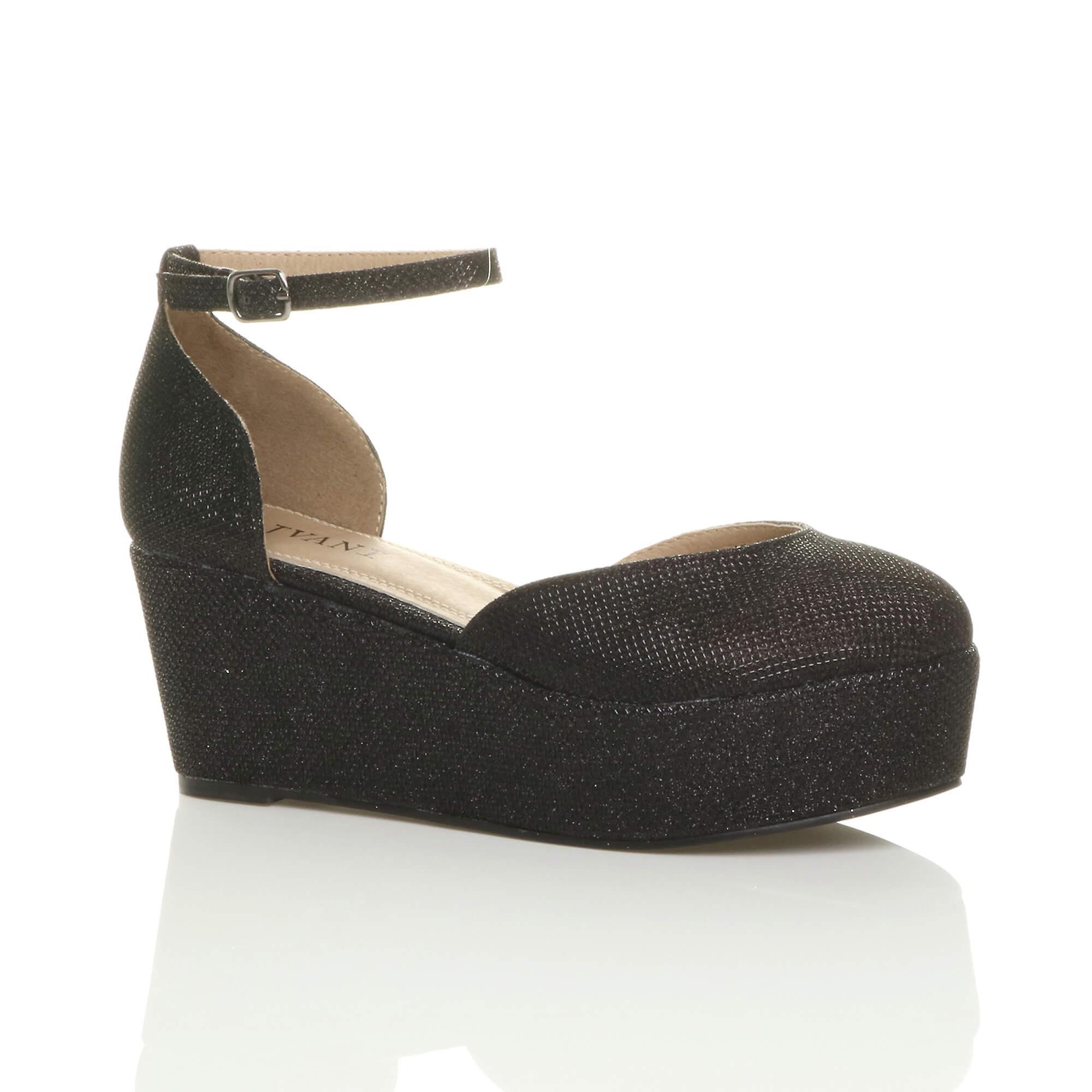 Ajvani womens mid low wedge flatform platform ankle strap court shoes sandals