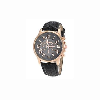 Ladies Geneva Black Dial Watch With PU Leather Strap VP-WAGENBLA1