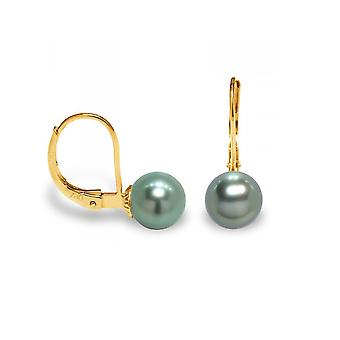 Earrings ears Tahitian Pearl and yellow gold 375/1000