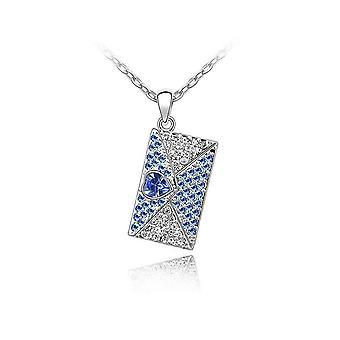 4e2de48a9866 Swarovski Crystal azul adornado de carta de amor colgante