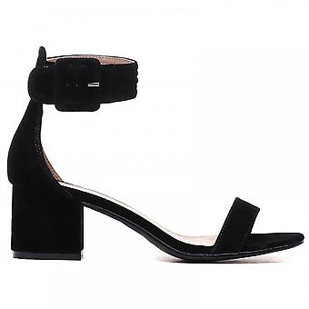 Shoe Closet Ladies FRR23 Black Low Heeled Ankle Strap Peep Toes Strappy Sandals Heels