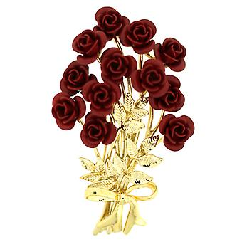 Brooches Store Bunch of 12 Red & Gold Rose Flower Bouquet Brooch