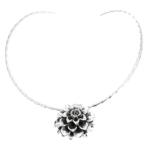 Silver Necklace Dahlia Flower