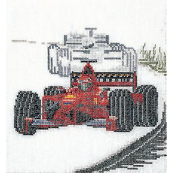 Motor Racing On Linen Counted Cross Stitch Kit-6.25