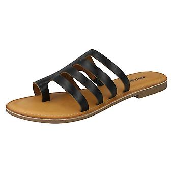 Ladies Leather Collection Flat Strappy Sandals F00125 - Yellow Leather - UK Size 4 - EU Size 37 - US Size 6