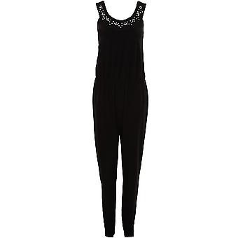 Ladies ärmellos Floral wulstige Diamante Neck Plain schlanke passen intelligente Jumpsuit