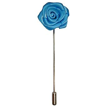 Bassin and Brown Rose Flower Lapel Pin - Blue