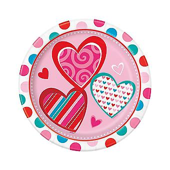 8 Bright Hearts Party Paper Plates - Valentines Day