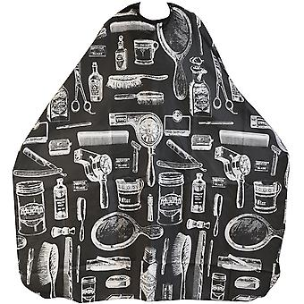 TRIXES Adult Patterned Black Salon Hairdressing Barbers Cape Body Gown Perfect for Cutting, Colouring, Highlights, etc