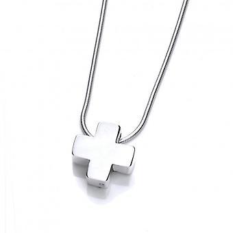 Cavendish francés plata pequeño grueso Cruz colgante con cadena de plata de 16-18