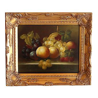 Fruits, oil painting with frame, inside dimensions 20x25 cm