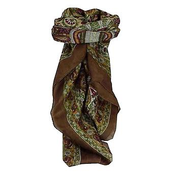 Mulberry Silk Traditional Square Scarf Colaba Brown by Pashmina & Silk