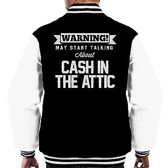 Warning May Start Talking About Cash In the Attic Men's Varsity Jacket