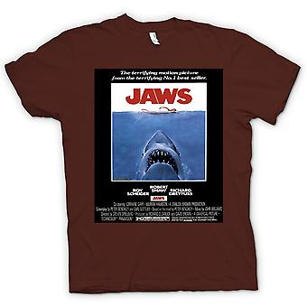 Mens T-shirt-Jaws - Horror - Shark - B-Film - Poster