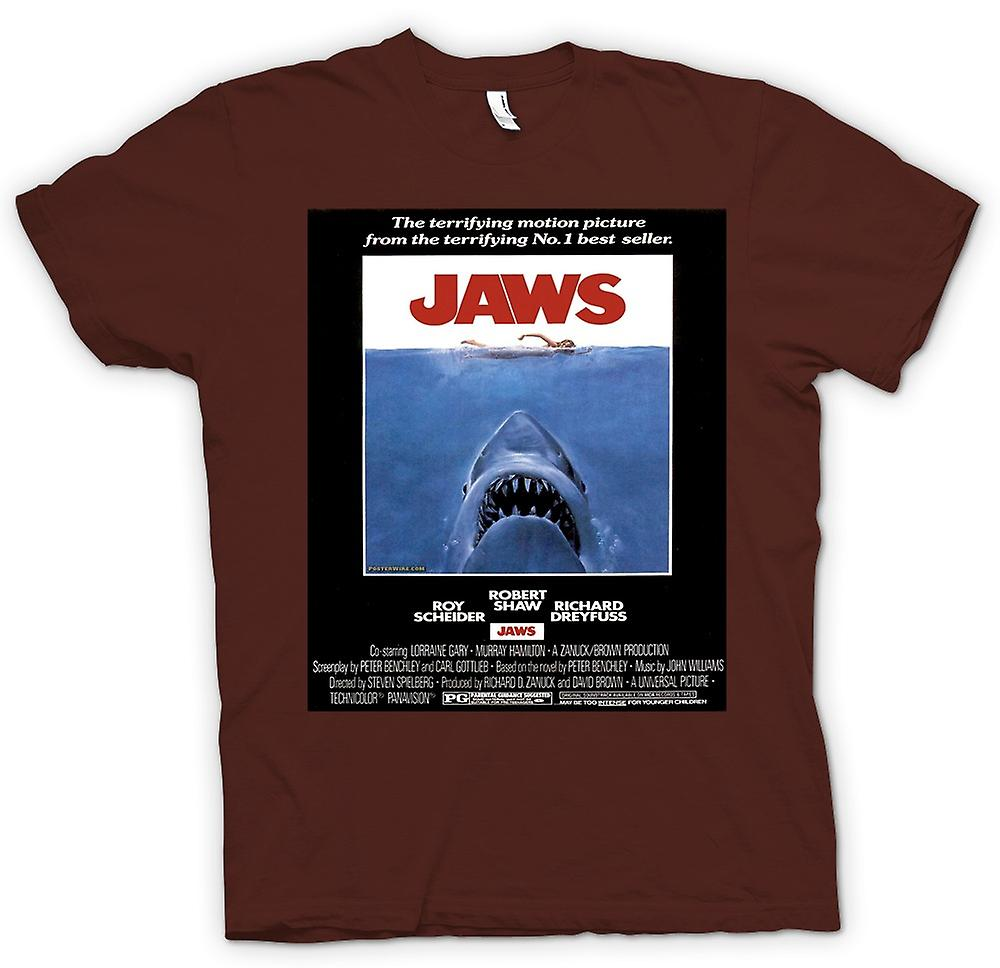 Mens t-skjorte-Jaws - Horror - Shark - B-film - plakat