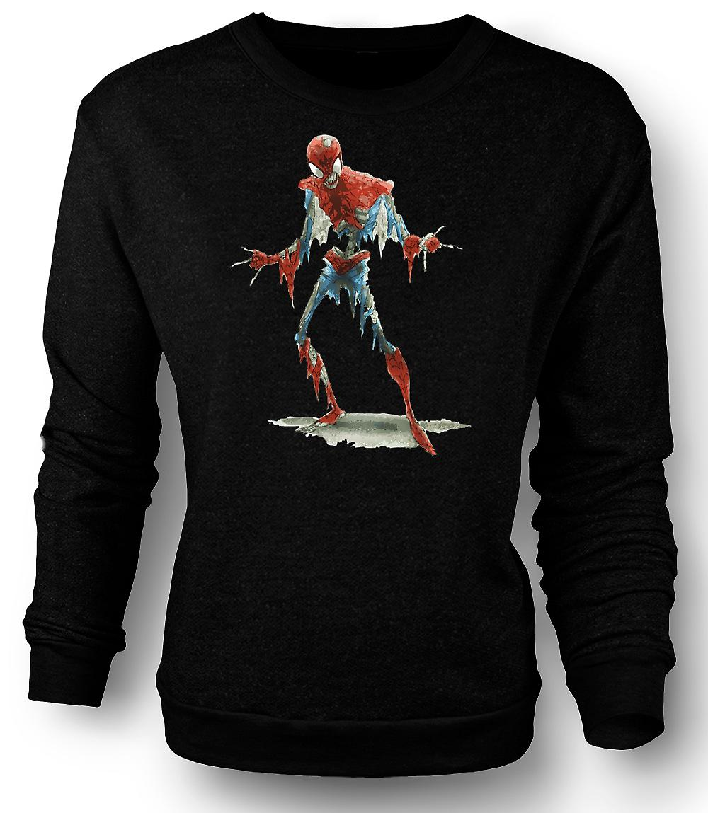 Mens Sweatshirt Spiderman Zombie - Funny