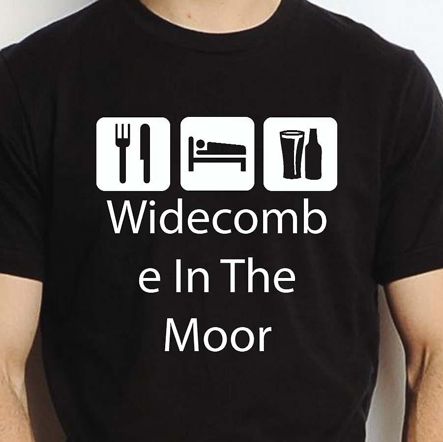 Eat Sleep Drink Widecombeinthemoor Black Hand Printed T shirt Widecombeinthemoor Town