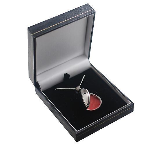 18ct White Gold 30x20mm plain tear drop Locket with a curb chain