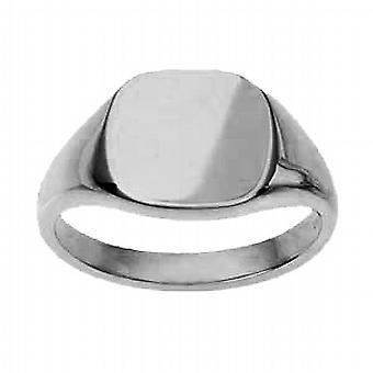 9ct White Gold13x13mm plain cushion Signet Ring Size R