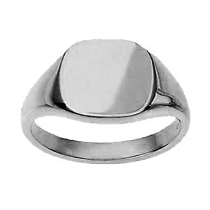 9ct White Gold13x13mm plain cushion Signet Ring Size W