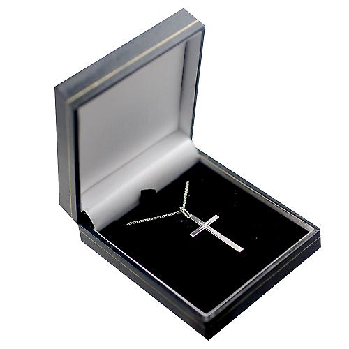Silver 30x17mm diamond star set solid block Cross with a rolo chain