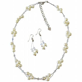 Wedding Jewelry Affordable Price Ivory Pearls AB Crystals Necklace Set