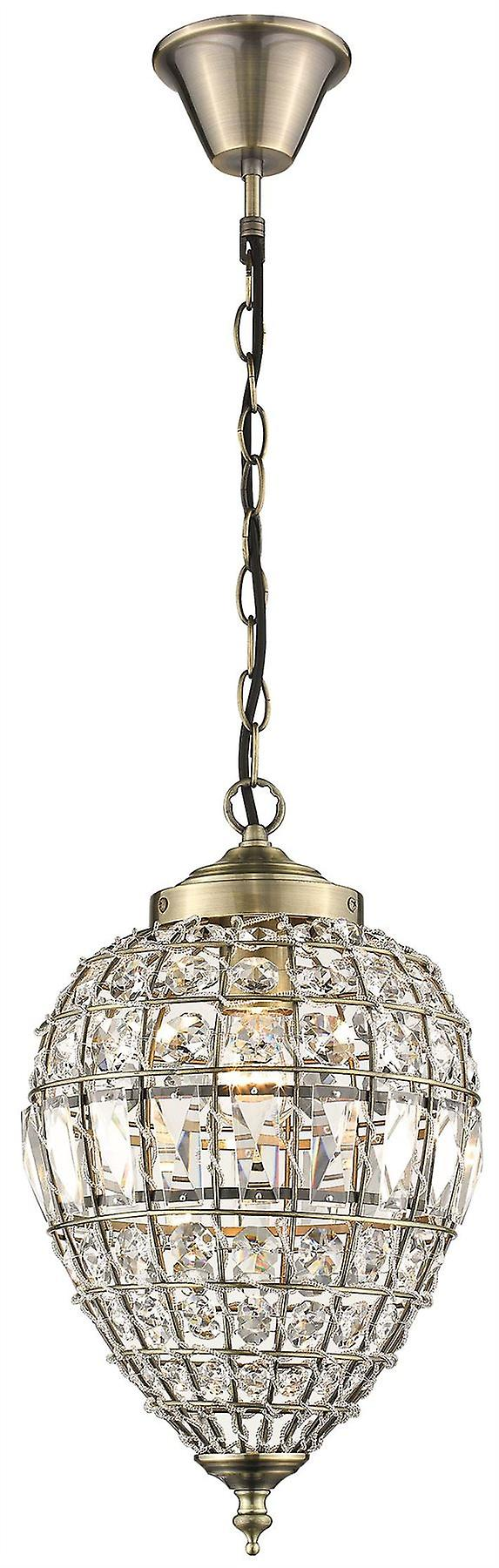 Spring Lighting - Craven Arms Small Antique Brass Drop Shaped Chandelier With Crystals  GJOD025BC1TUBU