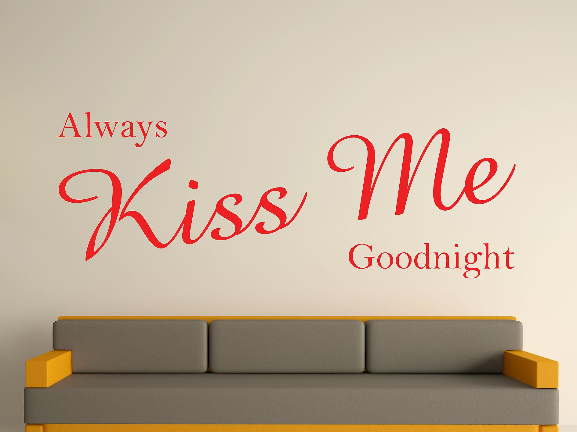 Always Kiss Me Goodnight Wall Art Sticker - Tomato Red