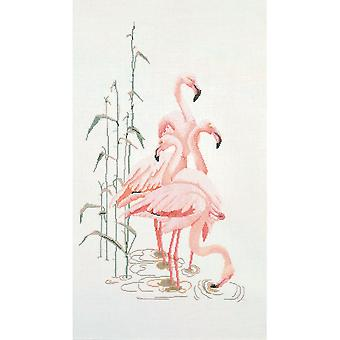 Flamingoes On Aida Counted Cross Stitch Kit-15