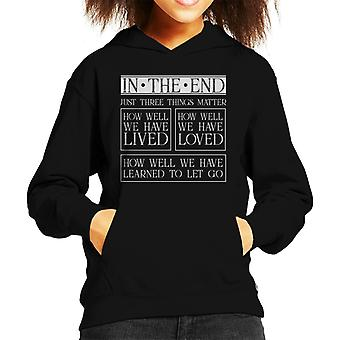 Mindfulness Jack Kornfield Lived Loved Quote Kid's Hooded Sweatshirt