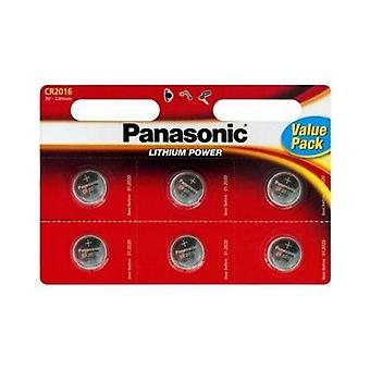 Panasonic CR 2016 Lithium Münze Batterie - Six-Pack