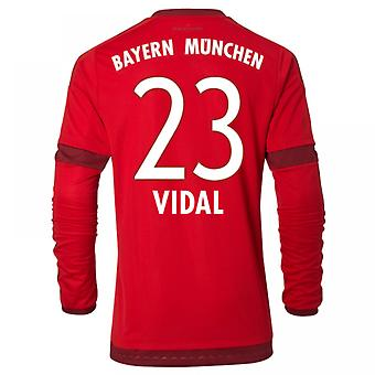 2015-16 Bayern München Long Sleeve Home Shirt (Vidal 23) - Kids