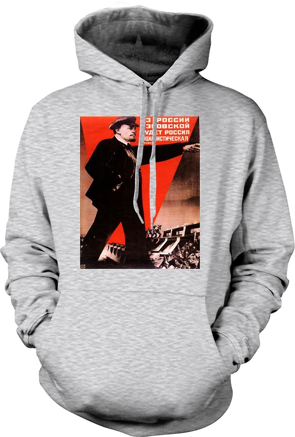 Mens Hoodie - Poster di propaganda russo Lenin